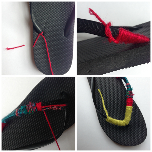 DIY Embellished flip flops tutorial instructions