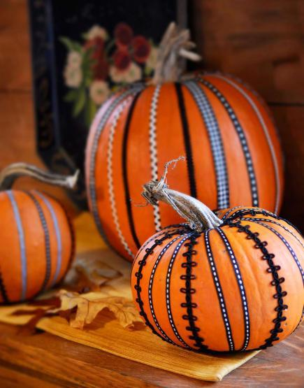 pumpkin-decorating-ribbon midwest living